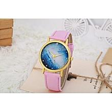 Technologg Watch  Women Watches Leather Band Analog Quartz Wrist Watch PK-Pink