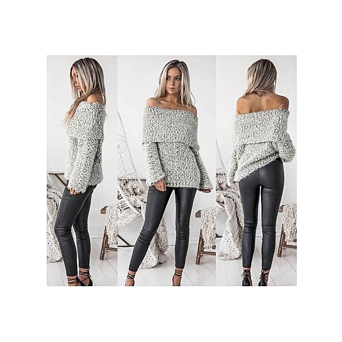 488fac5f86785 Great T-Shirts Women Sweater Casual Long Sleeve O Neck Off Shoulder Loose  Pullover Tee