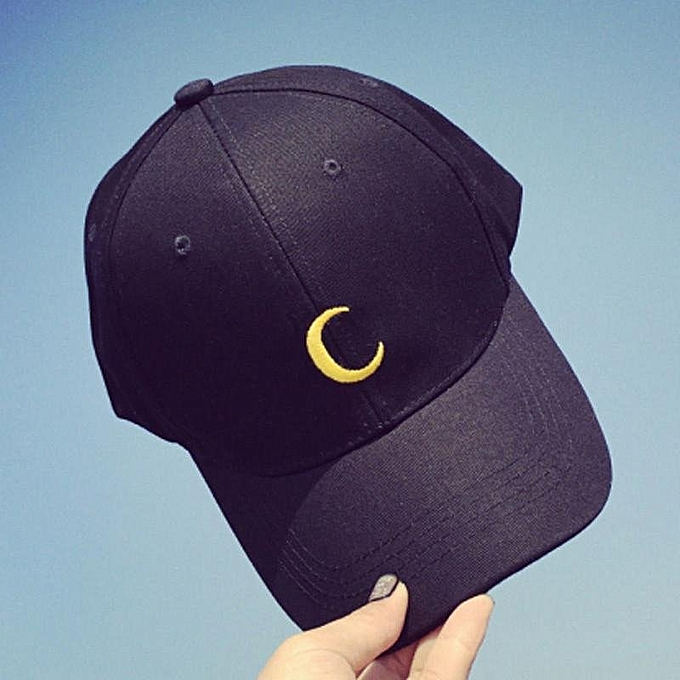 e813d127f46 Kpop Moon Embroidery Snapback Baseball Hat Unisex Women s Men s Trend Cap  Black