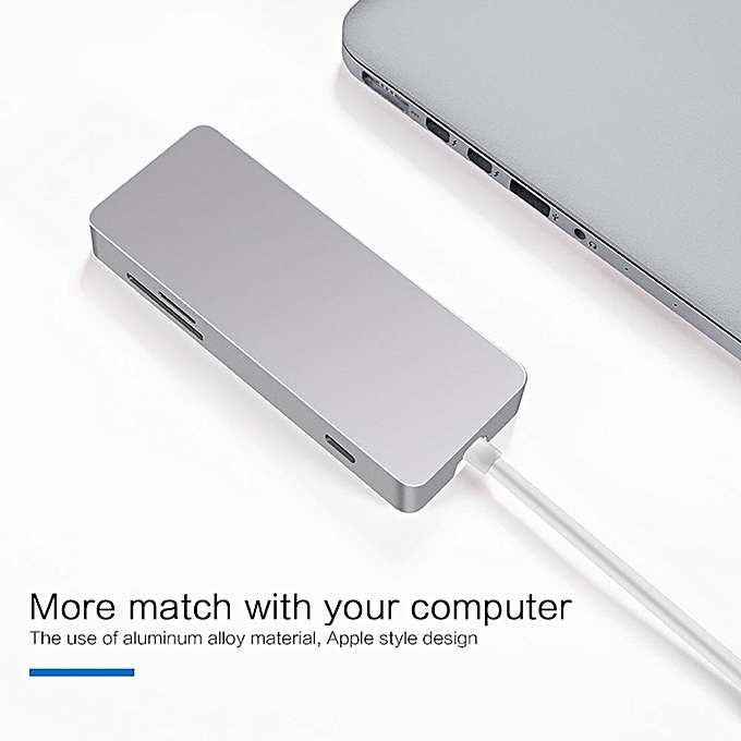 USB Type C Hub, 7 In 1 USB 3 1 Type-C Adapter With Type C Charging Port, 4K  HDMI, Aluminum USB C Hub Adapter For MacBook Pro And More HT