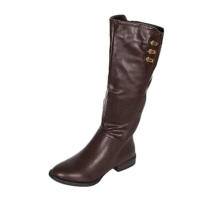 efbc782a9e91d MAKEOVER COLLECTION Brown Flat Knee High Boots   Best Price
