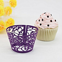 New! Leaves Lace Laser Cut Cupcake Wraer Liner Baking Cup Muffin -Purple