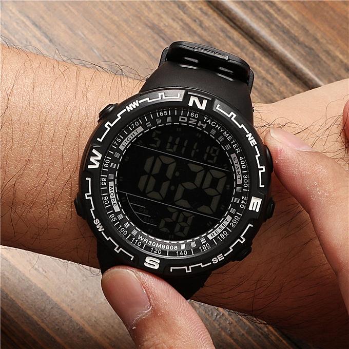 DZH Digital Watch Men Big Dial Sport Watches Chrono Countdown Waterproof LED Digital Watch Light Men's