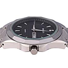 W23031A Men Calendar Steel Rhinestone Quartz Watch with 5ATM Water Resistant-BLACK