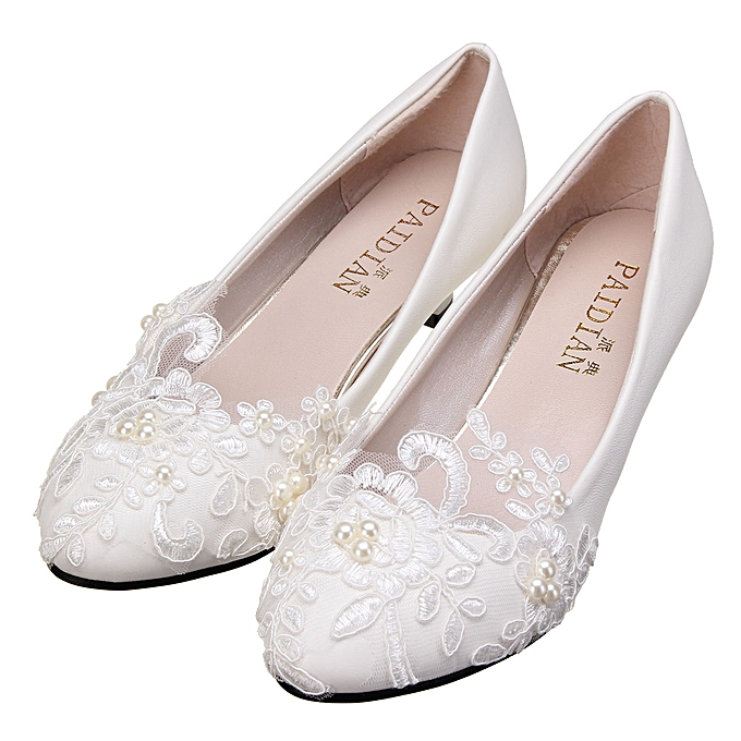 Lace Wedding Shoes.Women White Ivory Lace Wedding Shoes Bridal Bridesmades Flats Low High Heel Pump
