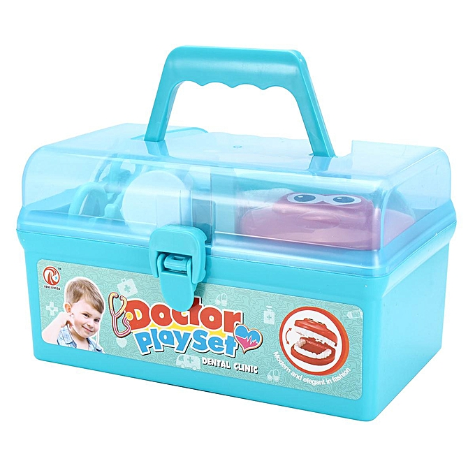 15Pcs Dentist Doctor Medical Set Toy Carry Box Kid Role Play Pretend Kit  Case # Blue