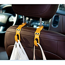 2pcs Car Seat Removable Hanger Hook Inner Car Bag Organizer Hanging hook- Brown