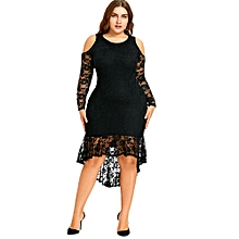 Women Sexy Lace High Low Dress - Black