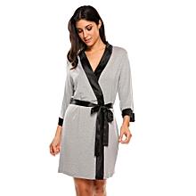 Women's Soft Spa Robe Collar Lightweight 3/4 Sleeve Sleepwear ( Grey )