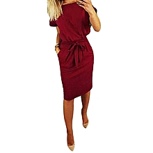 ZANZEA Women Casual Bow Tie Midi Sundress Plus Size Office Club Party Dress