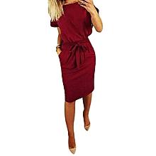 5b51c97608 ZANZEA Women Casual Bow Tie Midi Sundress Plus Size Office Club Party Dress