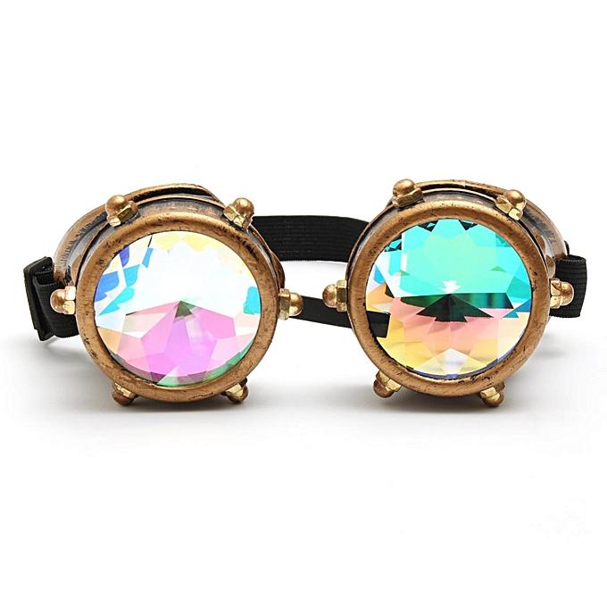 da99b95ce7 Festivals Kaleidoscope Glasses Vintage Rainbow Crystal Windproof Sunglasses  Gift - Copper