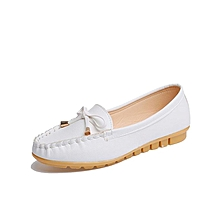 Women Flats Shoes Slip On Comfort Shoes Flat Shoes Loafers-White (EU Sizing)