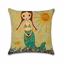 Cartoons Mermaid Cotton Linen Pillow Case Protector Cushion H05