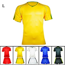 Excellent Quality L Size Short-sleeve Soccer Uniforms Jersey Quick-drying Football Training Suit - Yellow