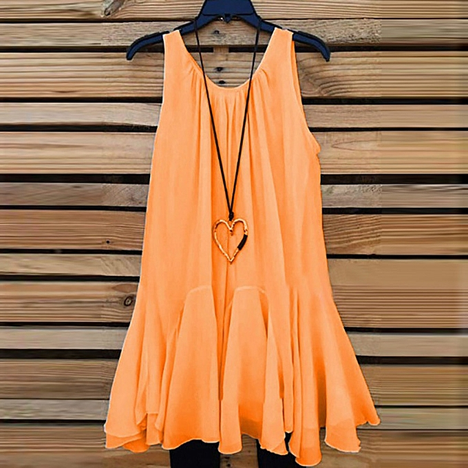 2620084fbc5 Womens Plus Size Chiffon Vest Shirt Sleeveless Blouse Casual Tank Tops T- Shirt -Orange