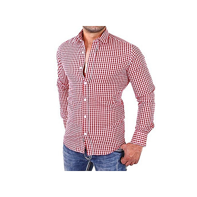 bluerdream-Men's Plaid Shirts Male Long Sleeve Slim Fit Business Casual Shirt- Red
