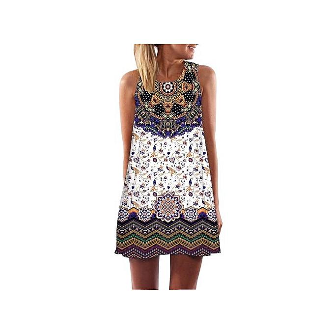 ee841bab3e Technologg Dress Women Loose Summer Vintage Sleeveless 3D Floral Print Bohe  Tank Short Dress L-
