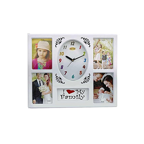 Buy Ema I Love My Family Photo Frame 5 Portion With Clock White