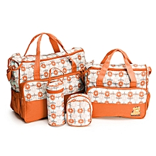 Elegant new design 5 in 1 Baby Diaper Bag Nappy Changing Pad waterproof Travel Mummy Bag- Orange