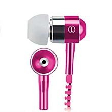 New Style Stereo 3.5mm Jack Earbuds Earphones with Mic Zipper Earphone Rose red