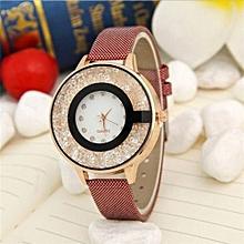 Women Wristwatch Leather Casual Watch Diamond Supply Quicksand Ball Female Watch(Red)