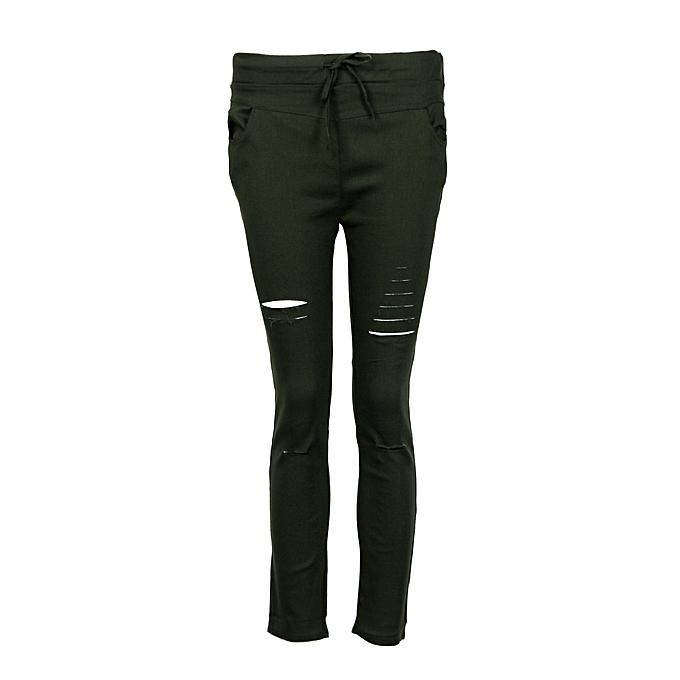 534d97a8da ... Hiaojbk Store Women Skinny Ripped Pants High Waist Stretch Slim Pencil  Trousers L-army Green ...