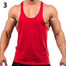 Men's Fashion Sports Vest Soft Cotton Gym Tank Tops Sexy Outdoor Exercise Shirt-Red