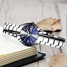Couple watch luminous waterproof steel belt watch-blue