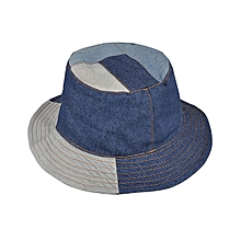 Men Washed Denim Patchwork Wide Brimmed Bucket Hat Outdoor Solid Visor Fishing Cap