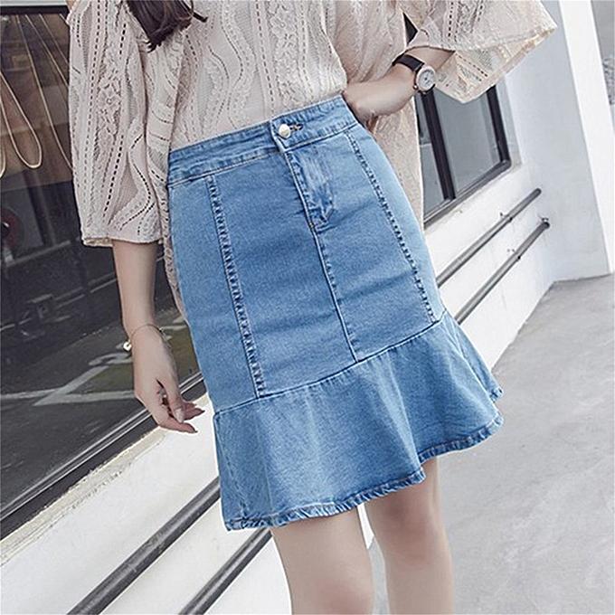 525a5cacb1 Summer Korean Style Women Package Hip Denim Skirt High Waist Flounce Skirt