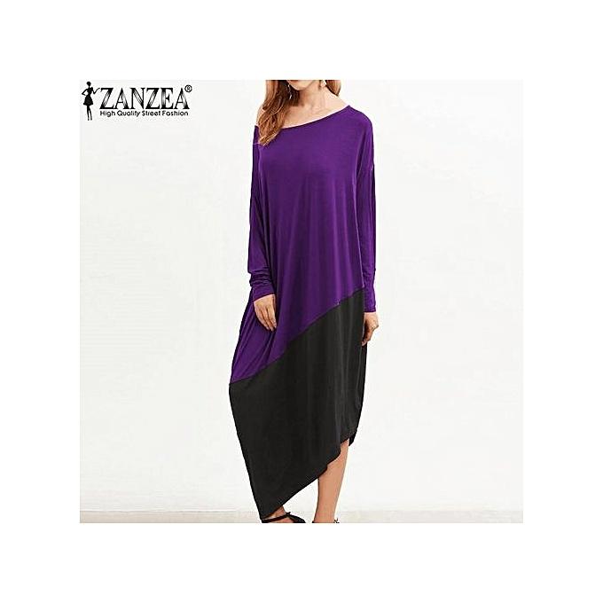 8096122f5bc4 ZANZEA Women Round Neck Long Sleeve Loose Casual Kaftan Vintage  Asymmetrical Hem Long Shirt Dress (