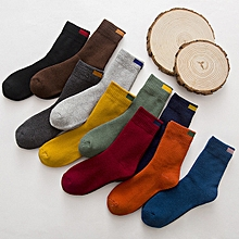 Men's 10 Colors Solid Color Terry Pile Socks Cotton Autumn Winter Warm Stockings