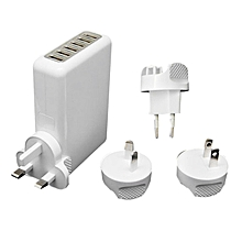 GB Universal Multi-Ports 6USB Charger Travel Wall Adapter Power Supply-white