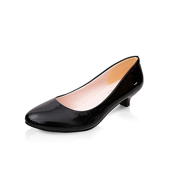 bee0bcca65d83 Summer Round Toe Low Heel Pumps Women Spike Heels Formal Shoes (Black)
