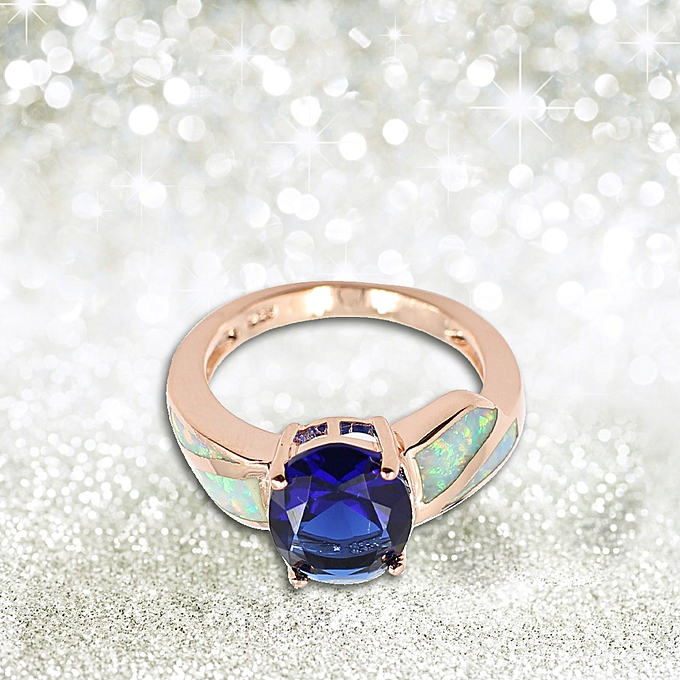 ca7b943b3ec Fashion CZ Diamond Simulated Opal 925 Sterling Silver Ring Women Girl  Wedding Engagement Jewelry Accessory