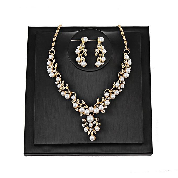 02ad801f5898d Bride set the chain leaf pearl necklace earring wedding dres