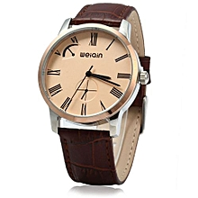 Male Analog Quartz Watch Leather Band 5ATM Water Resistant Small Dial Decorating-COFFEE ROSE GOLD