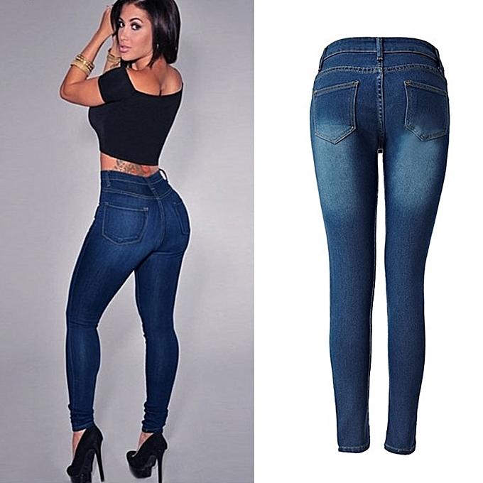f82b5db7d2c2b Fashion Women Push Up Jeans High Waist Denim Pencil Pants   Best ...