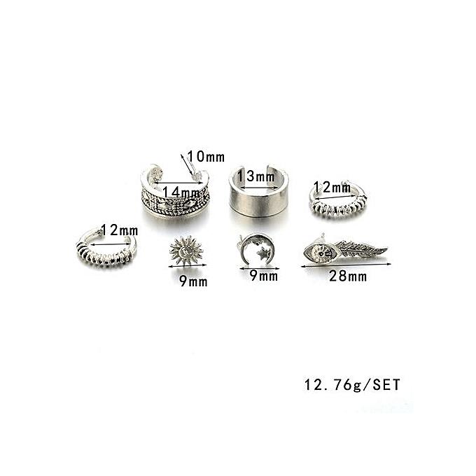 Bohemia Women Retro Silver Ear Clip Stud Dangle Earrings Set Fashion Jewelry
