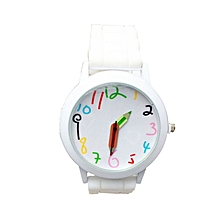 Fashion Quartz Unisex Boys And Girl's Beautiful Students All-Match Watch-White
