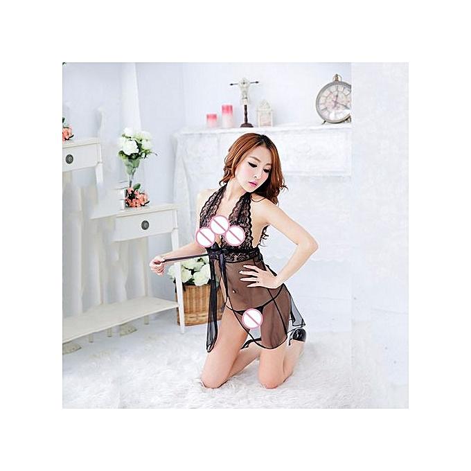 778252f34d33 Wenrenmok Store Women Sexy Lace Sleepwear G-string Lingerie Bra Underwear  Nightwear Set BK-
