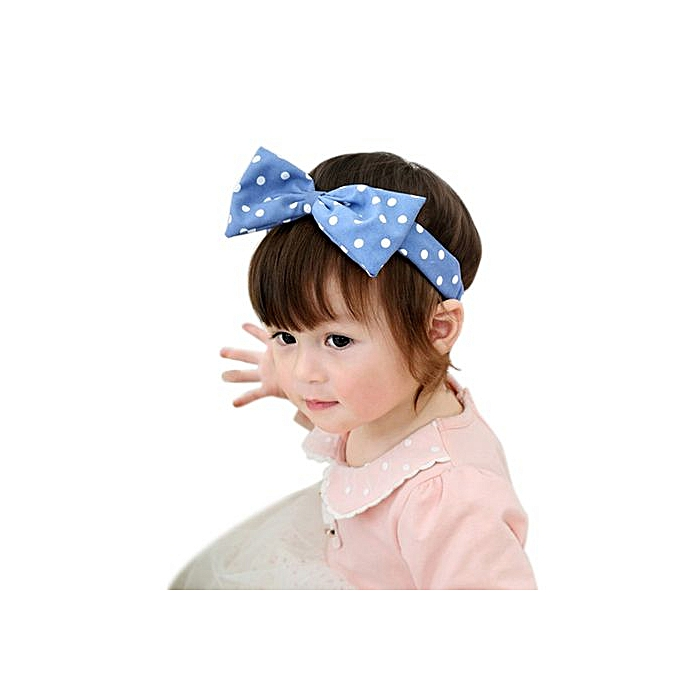 d2bd6cef02c Fashion Braveayong Cute Kid Baby Girls Princess Dots Bowknot Headband  Elastic Hairband Headwear -Blue