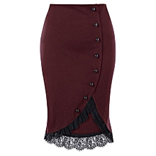 06ecf6c20c Women Button Up Plus Size Lace Trim Midi Skirt - Wine Red