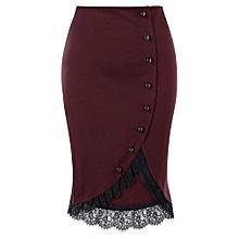 0b60ab07201 Women Button Up Plus Size Lace Trim Midi Skirt - Wine Red