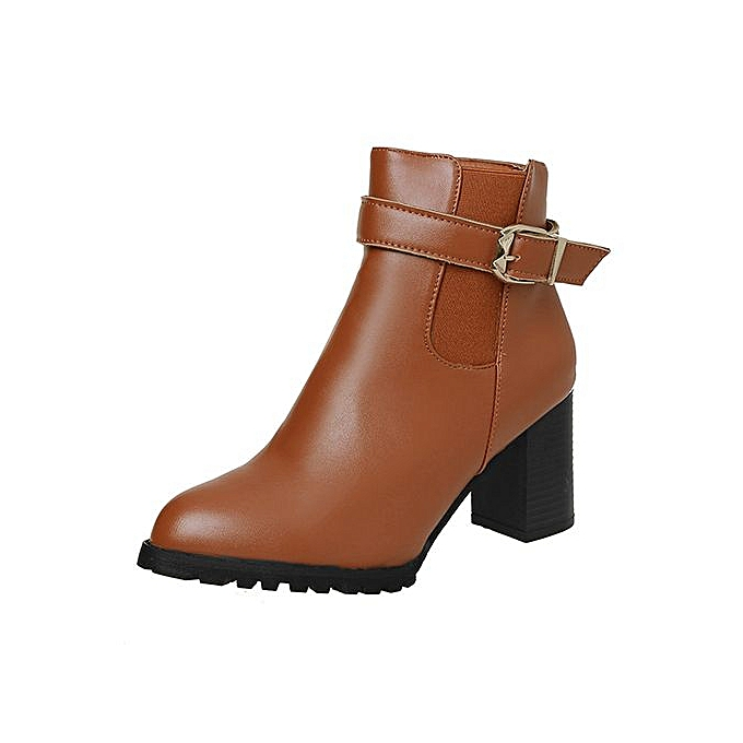 eda7ac4ef09 Jiahsyc Store Women Autumn Winter Short Boots High Heel Shoes Martin Boots  Ankle Boots Shoes-Brown