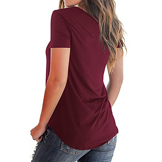 6bc66066 duanxinyv Women's Casual Short Sleeved Solid Criss Cross Front V-Neck T-Shirt  Tops ...