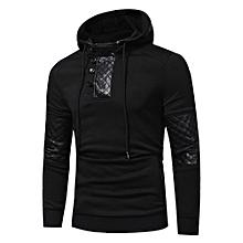 Mens' Autumn Winter Patchwork Hoodie Hooded Sweatshirt Tops Jacket Coat Outwear- Black