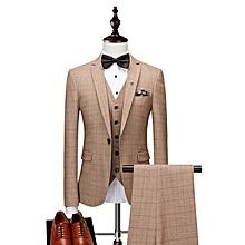 Luxury Plaid Wedding Suits Tuxedo Jacket (3 Peiece) - Apricot
