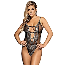 Halter Teddy With Lace Embroidery Lingerie